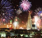 Hundreds of thousands of fireworks light up the Reykjavík skyline on New Years Eve.