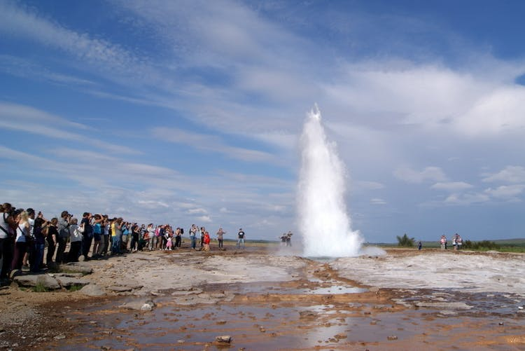 Strokkur makes for a fantastic photo, though its hard not to capture the crowds of awed onlookers too.