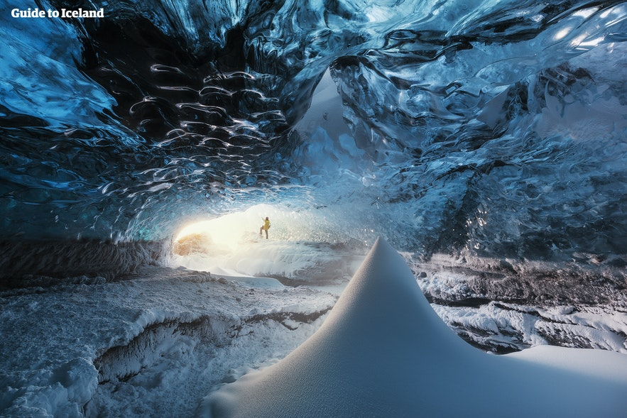Ice caves are accessible between November and March in Iceland