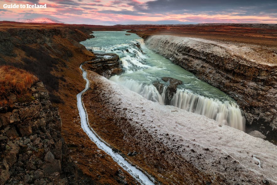 Gullfoss waterfall wearing an autumnal coat.
