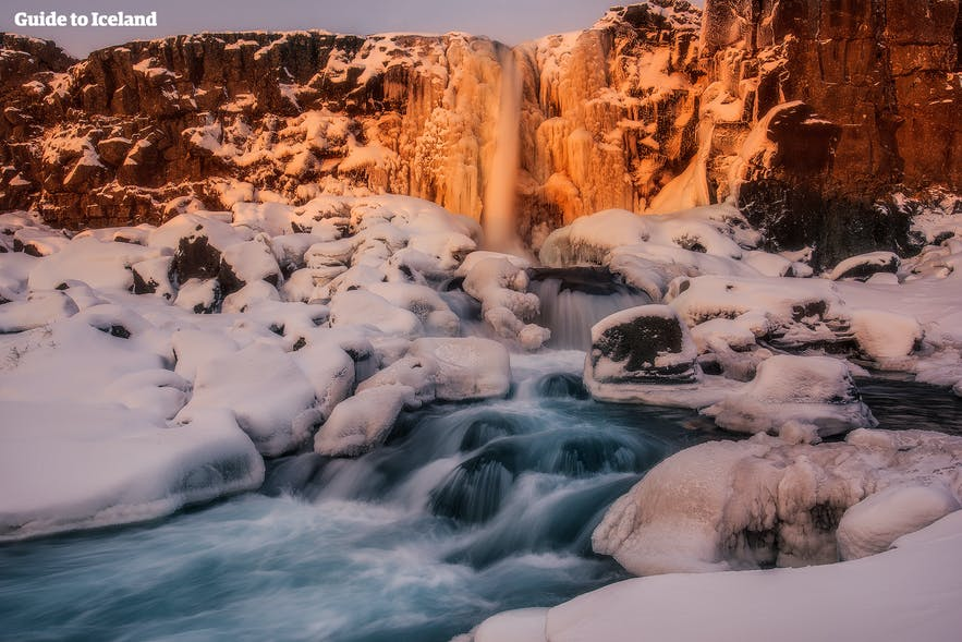 Öxarárfoss at Þingvellir national park during wintertime