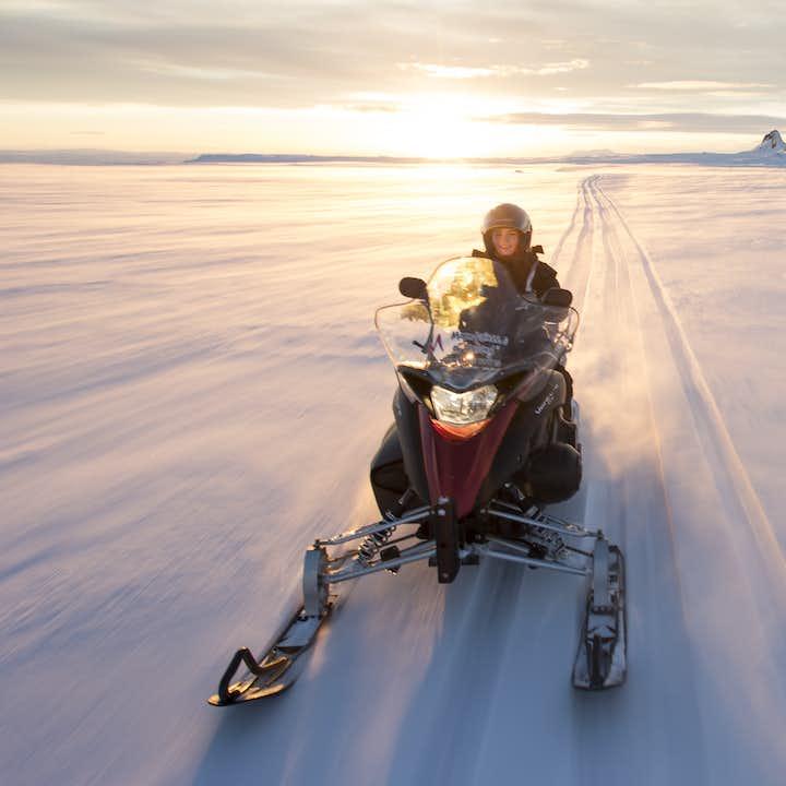 Enjoy your snowmobile adventure on top of Langjökull Glacier in Iceland.