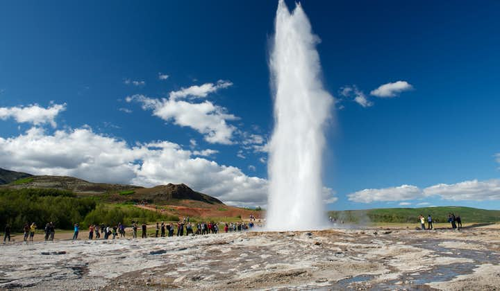With a rush, Strokkur erupts boiling water over forty metres high.