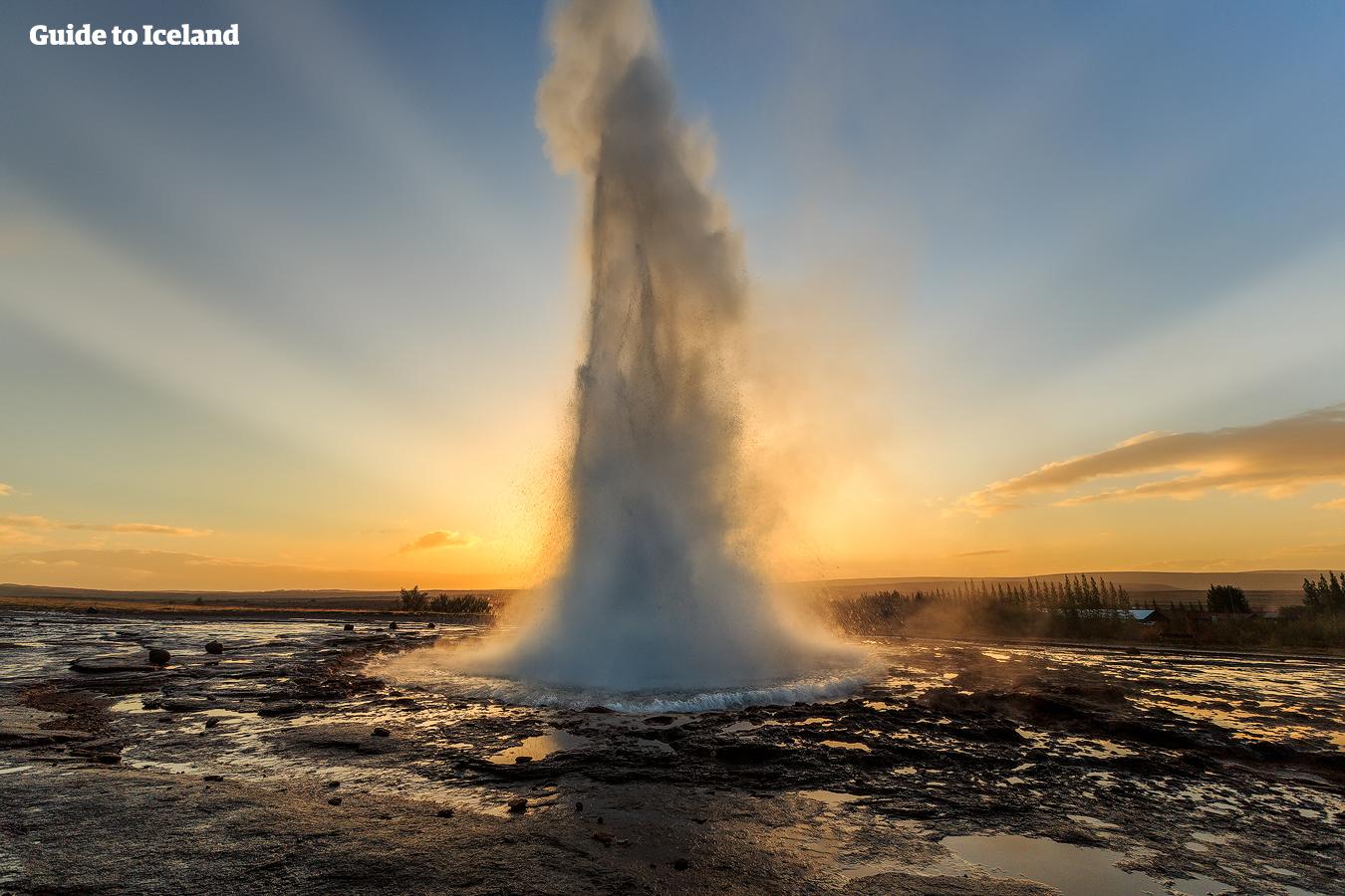 Gejsern Strokkur har ett dramatiskt utbrott med soluppgången som bakgrund.
