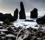 'Petrified trolls', or basalt rock stacks protruding from the coastline of the Reykjanes Peninsula.