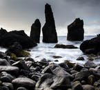 'Petrified trolls', or basalt rock stacks protruding from the coastline of the Reykjanes Peninsula.