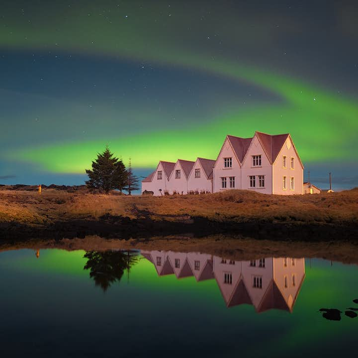 Þingvellir National Park is Iceland's most important historical site, seen here under stunning auroras.