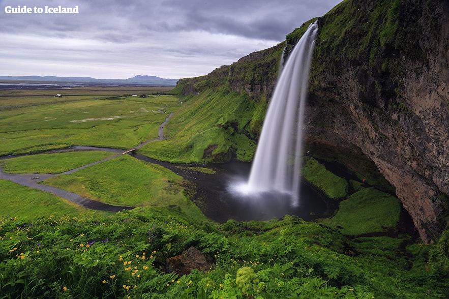 Seljalandsfoss waterfall when it is not stormy