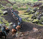 A column of horseback riders under the midnight sun enter a mossy expanse.