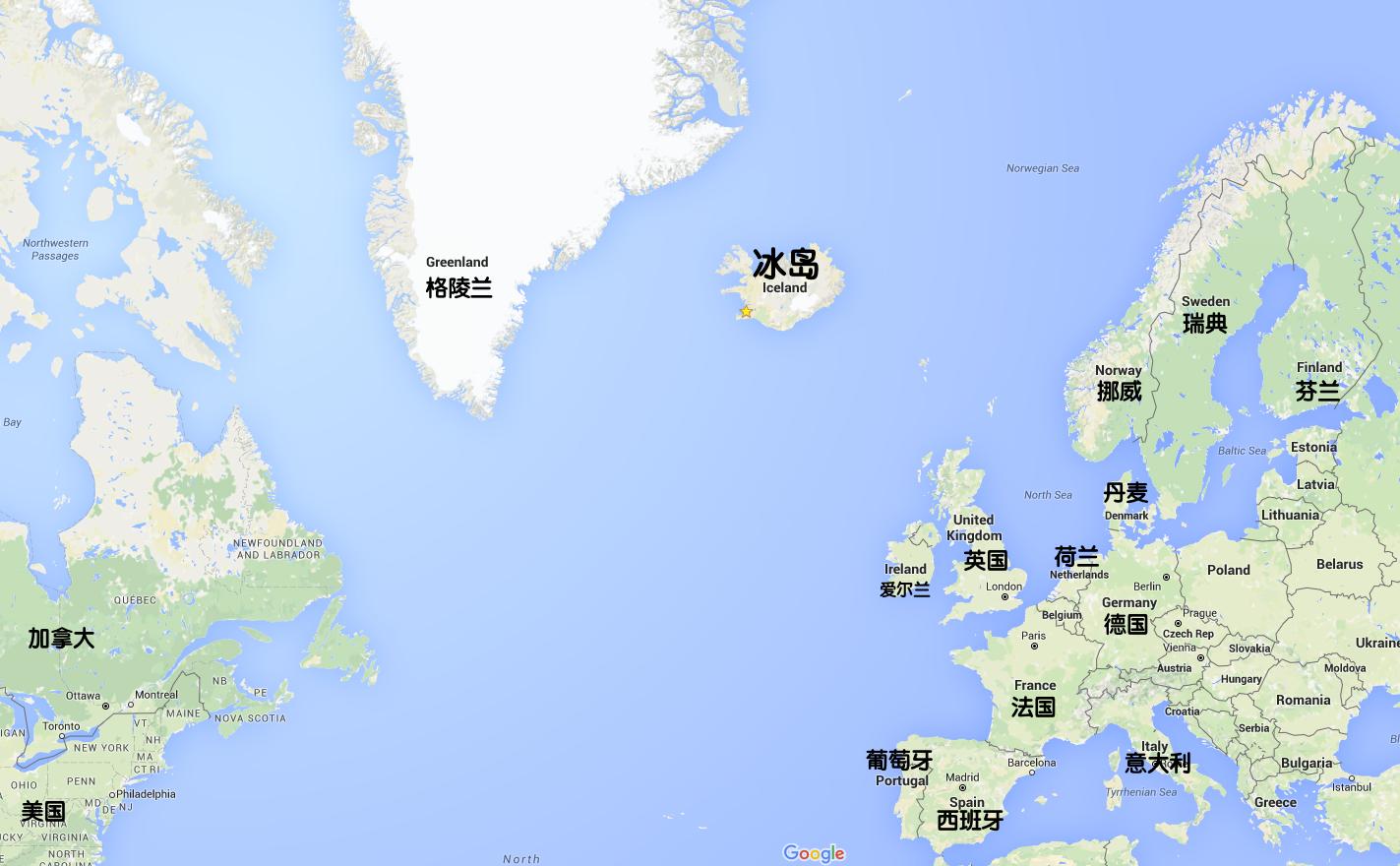 冰岛地理位置-地图-往返冰岛的航班