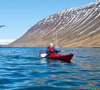 A floatation suit and lifejacket is provided for this summer kayaking tour from Ísafjörður.