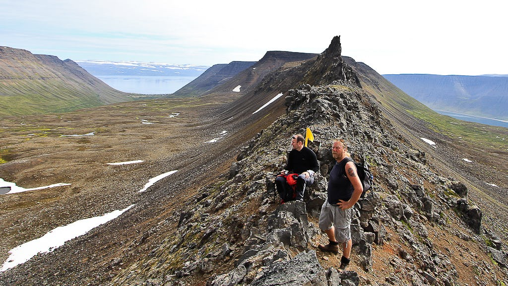 A ridge in the Westfjords revealing spectacular summer views.