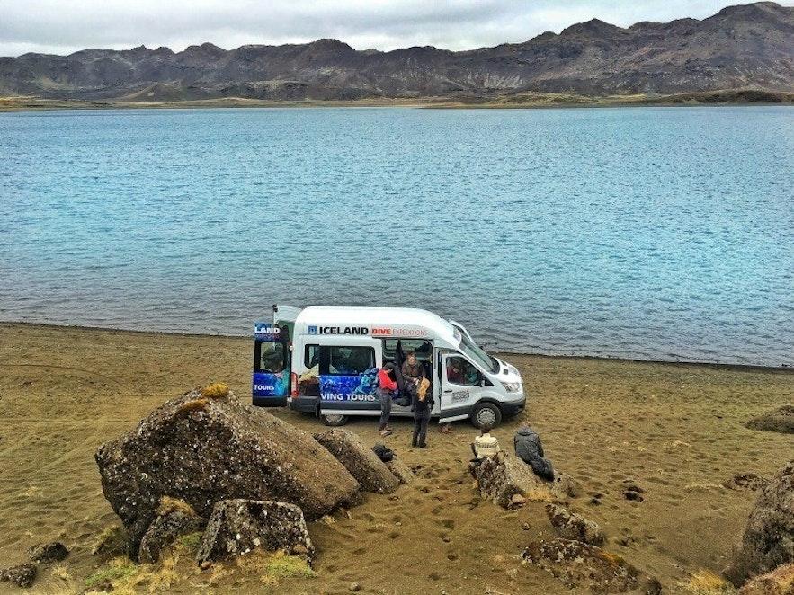 Diving in Kleifarvatn lake in Iceland