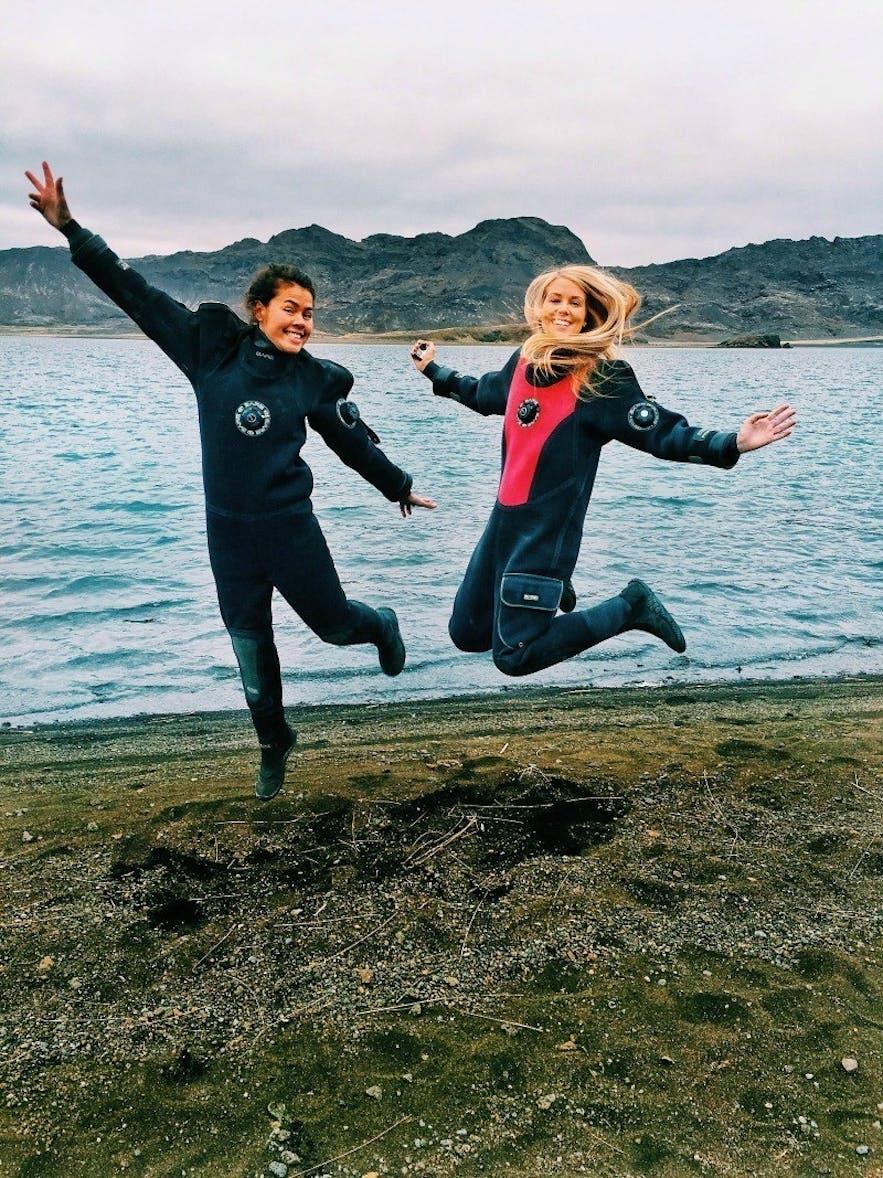 Drysuit snorkeling in Kleifarvatn Iceland