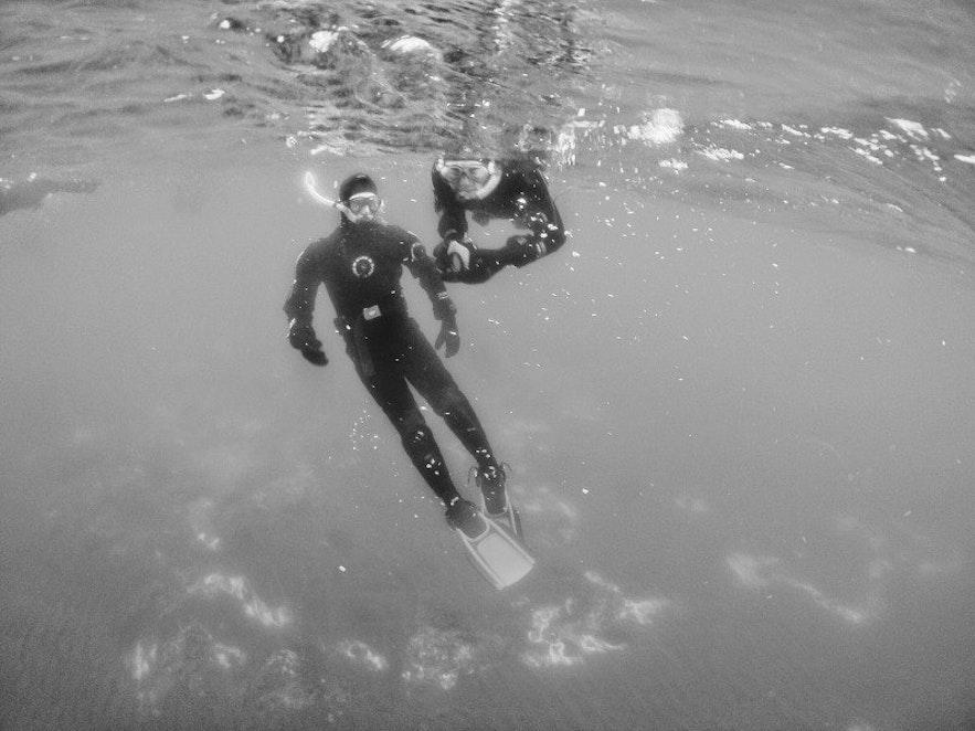 Underwater hot springs in Iceland