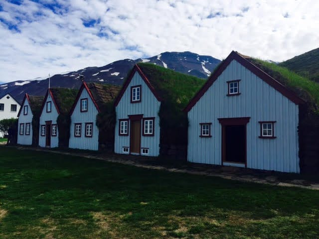 Traditional turf houses in Akureyri, north Iceland