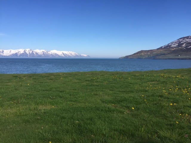 Clear sky over a northern fjord in Iceland