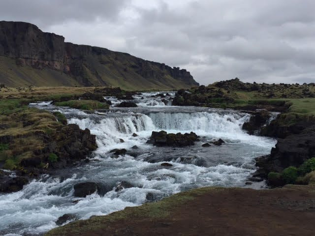 Spring view of an Icelandic waterfall