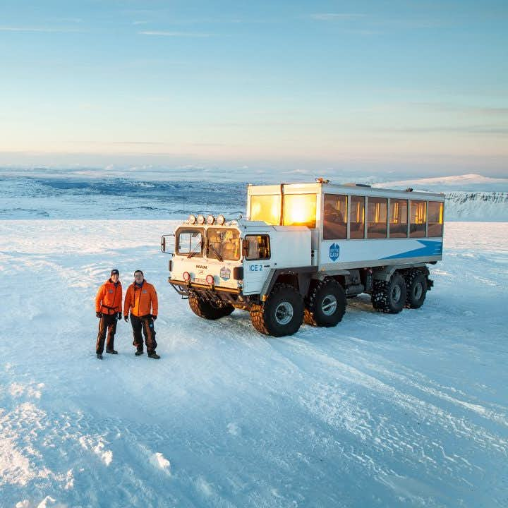 Massive Super Jeeps have the ability to take you all the way up to the ice tunnels in the second largest glacier in Europe, Langjökull.