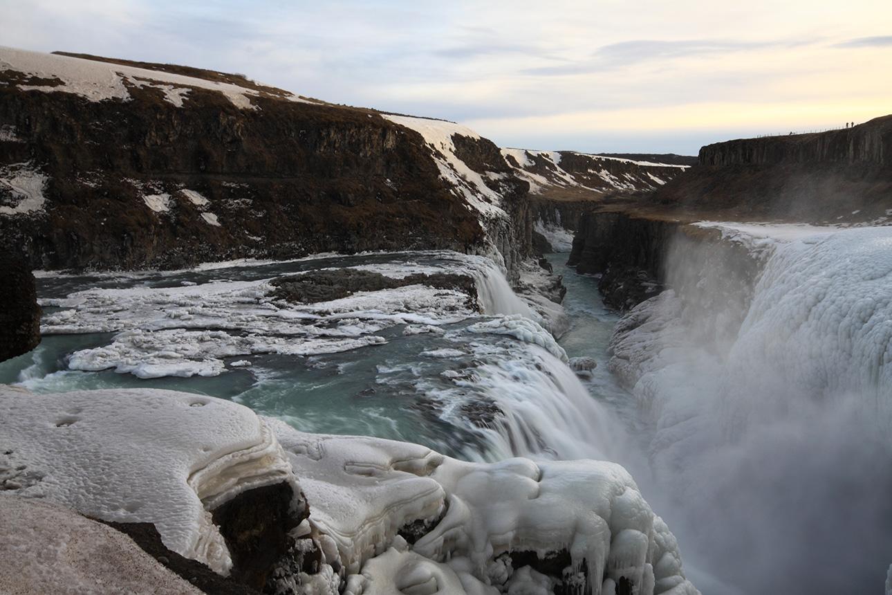 The mighty Gullfoss waterfall in winter's costume.