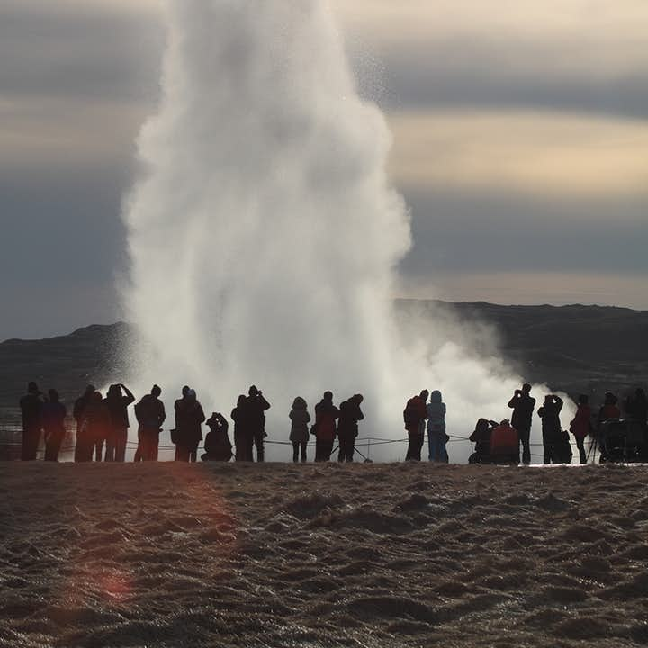 Strokkur geyser shoots water as high as 40 metres into the air when it erupts.