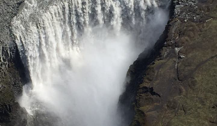 The largest waterfall in Europe, Dettifoss in North Iceland, as pictured from a plane.