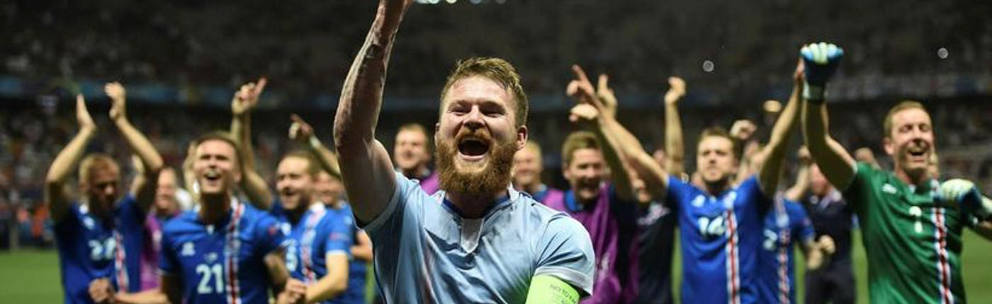 Icelandic team celebrating victory - as we'll remember them after Euro 2016