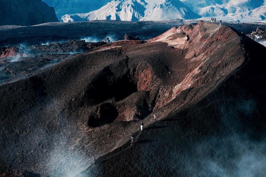 flanc du Fimmvörduháls juste après son éruption en 2010