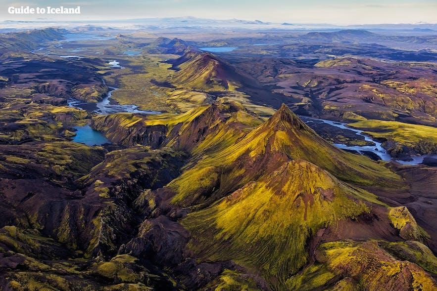 鸟瞰冰岛中央内陆高地