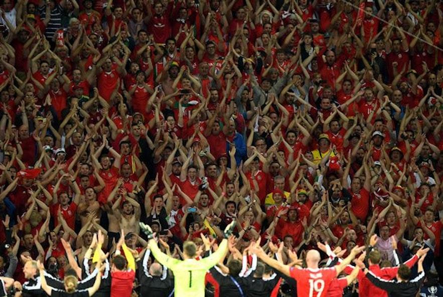 Wales celebrates with Icelandic Viking chant