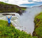 Gullfoss waterfall is one of the three attractions of the Golden Circle sightseeing route.