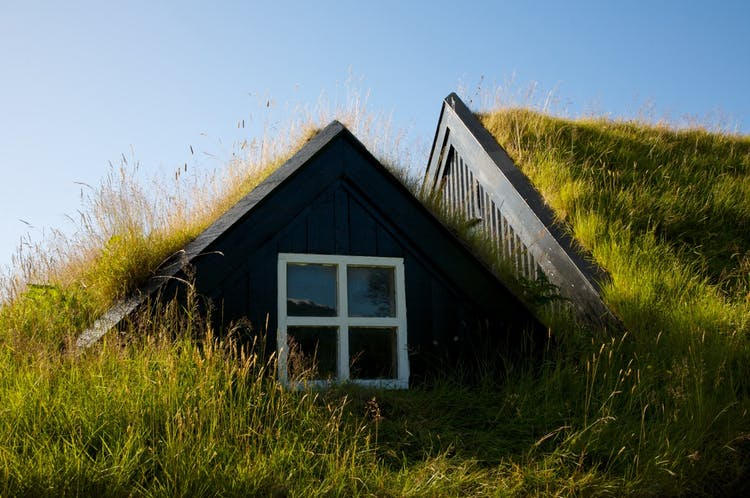 An example of a traditional Icelandic turf home with modern renovations.