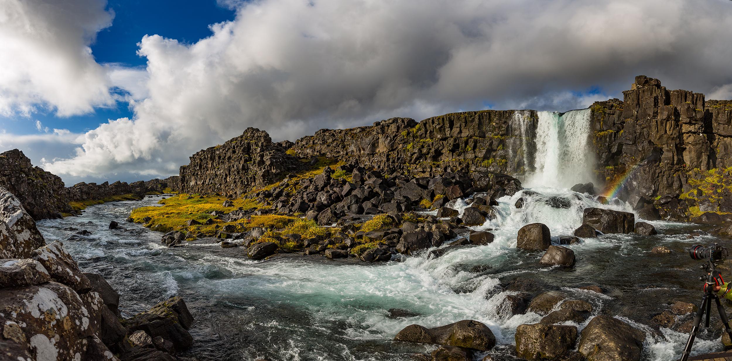 Öxarárfoss in Þingvellir tumbles down lava rocks on the Golden Circle in Iceland.