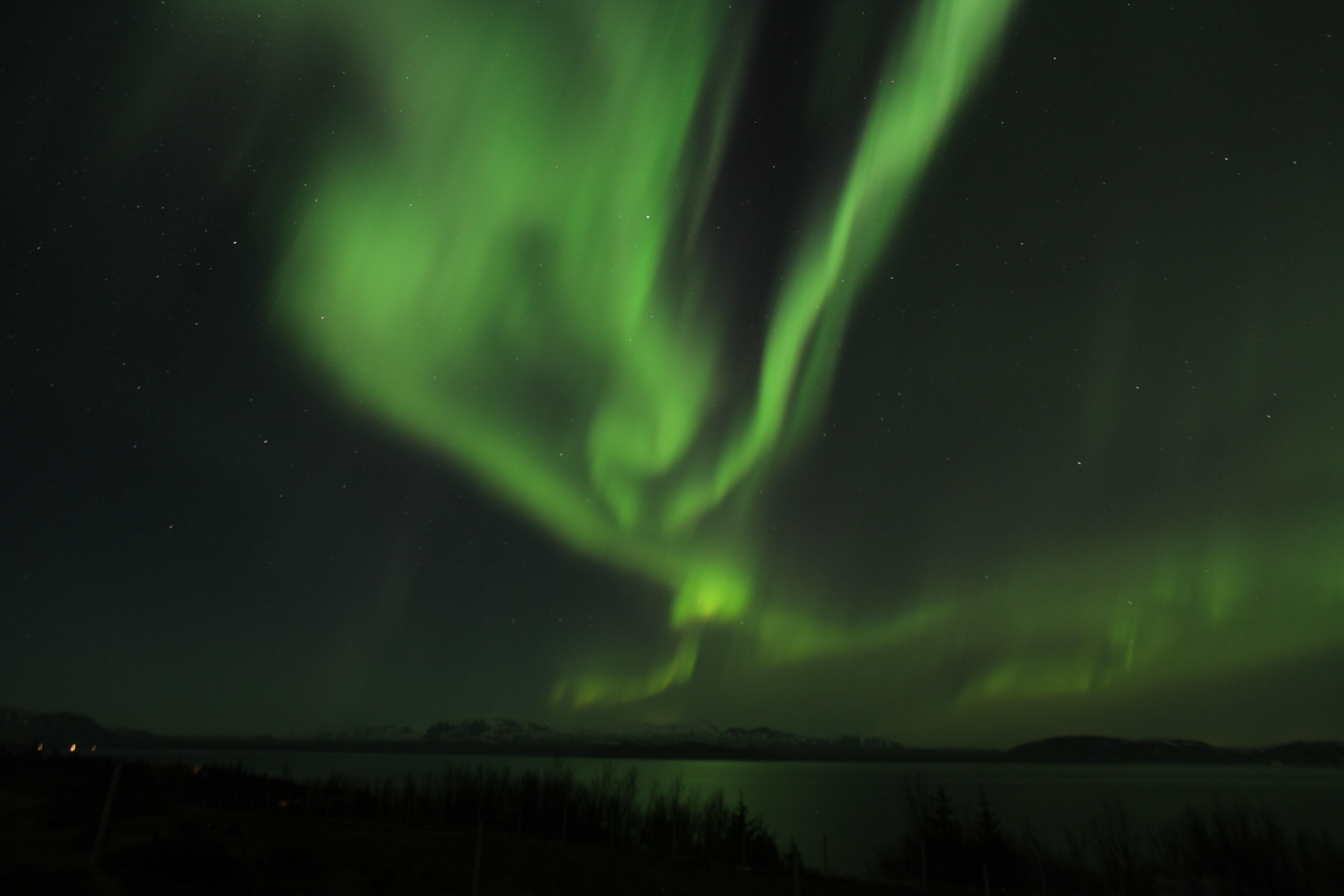 Una aurora boreal danzando en el cielo, no muy lejos de Reikiavik, en Islandia.