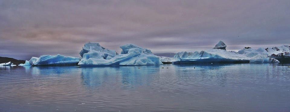 Ice floating in Jökulsárlón glacier lagoon in southeast Iceland