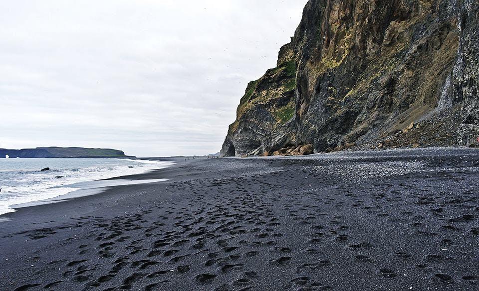 Black sands of Reynisfjara in south Iceland