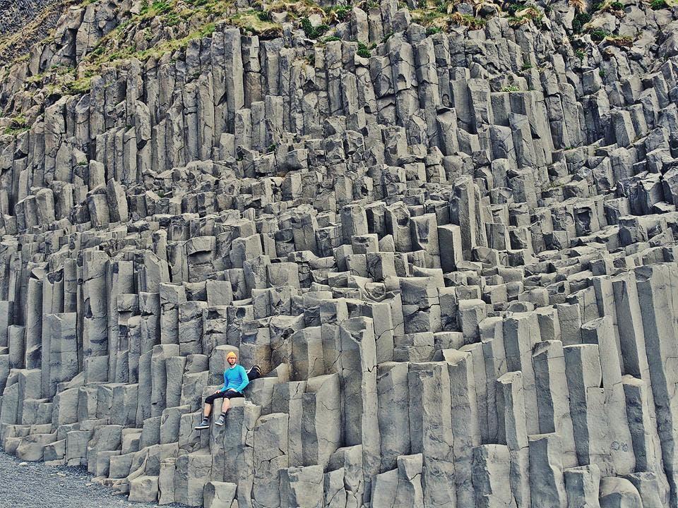 Basalt columns by Reynisfjara beach in south Iceland