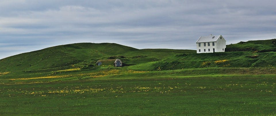 Turf house in south Iceland