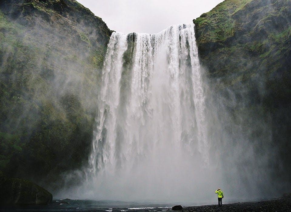 Skógafoss waterfall in Iceland in June
