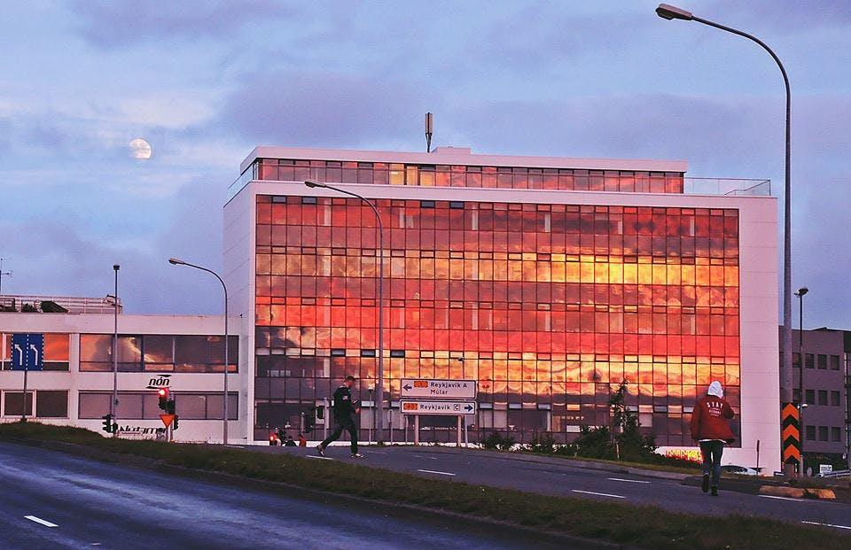 Midnight sunset in Reykjavík in June