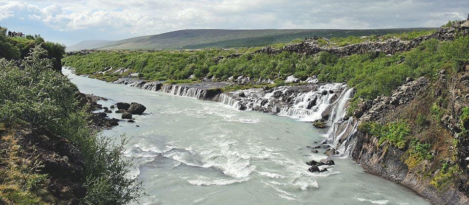 Hraunfossar waterfalls in Iceland in June