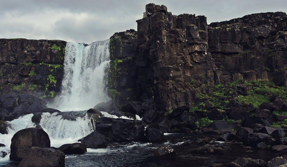 Öxarárfoss waterfall in Þingvellir in Iceland in June