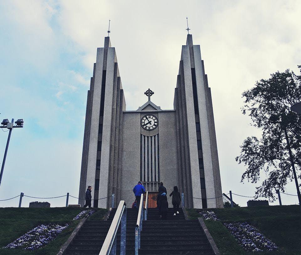Akureyri church in Iceland in June
