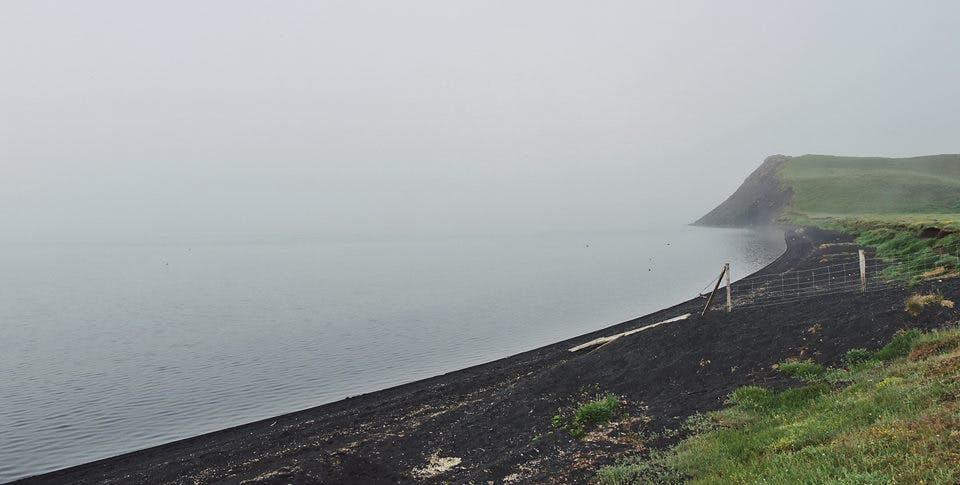 Foggy Lake Mývatn in Iceland in June