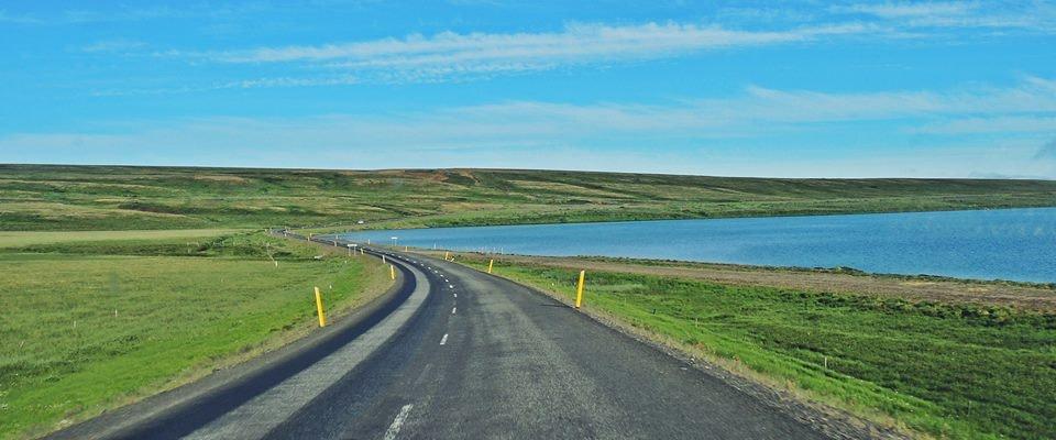 Sunny Lake Mývatn in Iceland in June