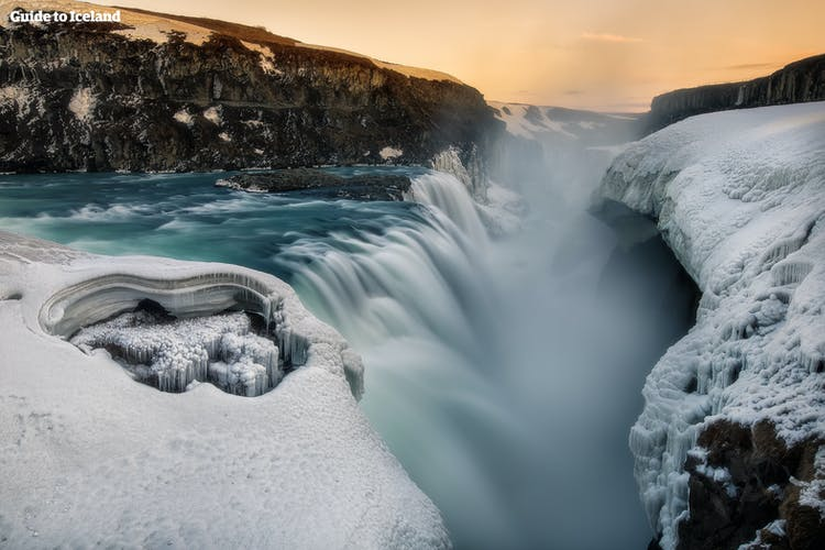 Gullfoss thunders into an ancient canyon, which in winter, becomes cloaked in thick layers of snow and ice.