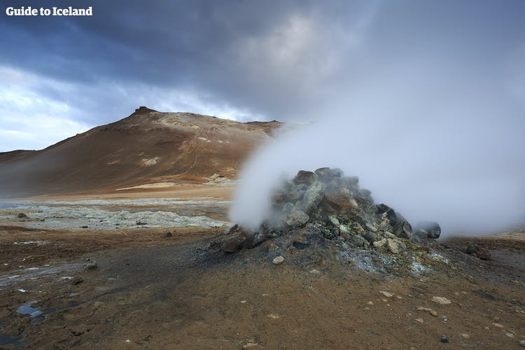 Part of the Diamond Circle in north Iceland is Námaskarð Pass, where fumaroles steam and hot springs boil.