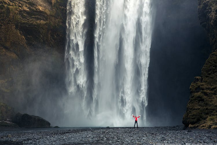 The South Coast waterfall Skógafoss is renowned for its scale, power, and closeness to Route 1, which encircles the country.