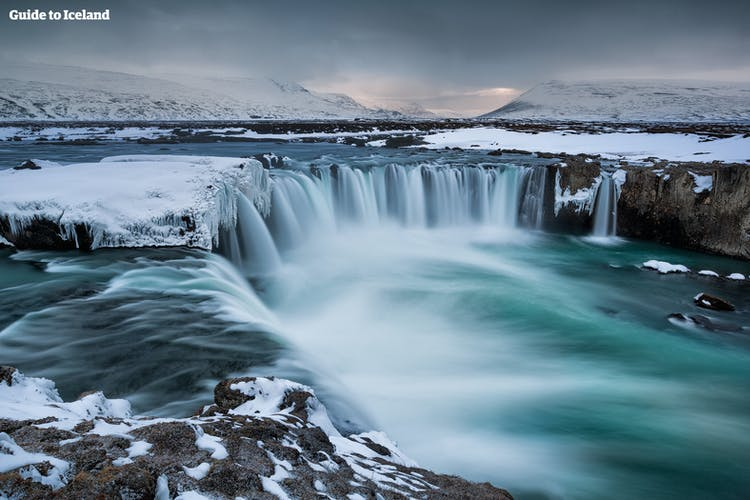 Almost exactly halfway between Akureyri and the Mývatn area is the horseshoe-shaped waterfall Goðafoss.