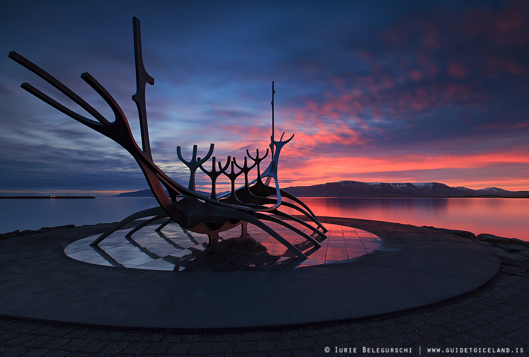 The Sun Voyager sculpture on the coast of Reykjavík is one of the city's most popular artistic spots.